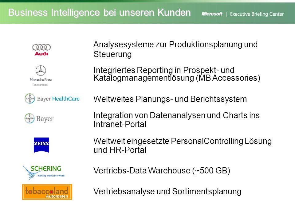 Business Intelligence bei unseren Kunden Analysesysteme zur Produktionsplanung und Steuerung Integriertes Reporting in Prospekt- und Katalogmanagement