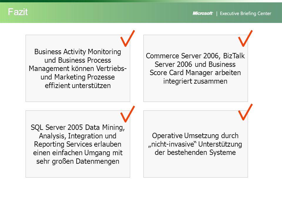 Fazit Commerce Server 2006, BizTalk Server 2006 und Business Score Card Manager arbeiten integriert zusammen Business Activity Monitoring und Business