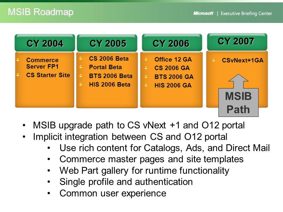 Commerce Server FP1 CS Starter Site Office 12 GA CS 2006 GA BTS 2006 GA HIS 2006 GA CY 2004 CY 2005 CY 2006 CY 2007 CSvNext+1GA MSIB Path MSIB upgrade