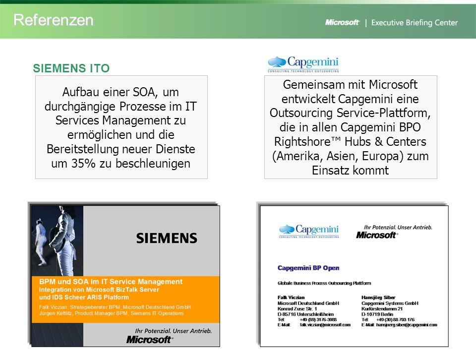 Referenzen Aufbau einer SOA, um durchgängige Prozesse im IT Services Management zu ermöglichen und die Bereitstellung neuer Dienste um 35% zu beschleu