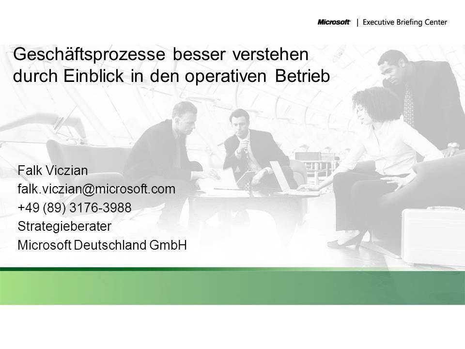 Geschäftsprozesse besser verstehen durch Einblick in den operativen Betrieb Falk Viczian falk.viczian@microsoft.com +49 (89) 3176-3988 Strategieberate