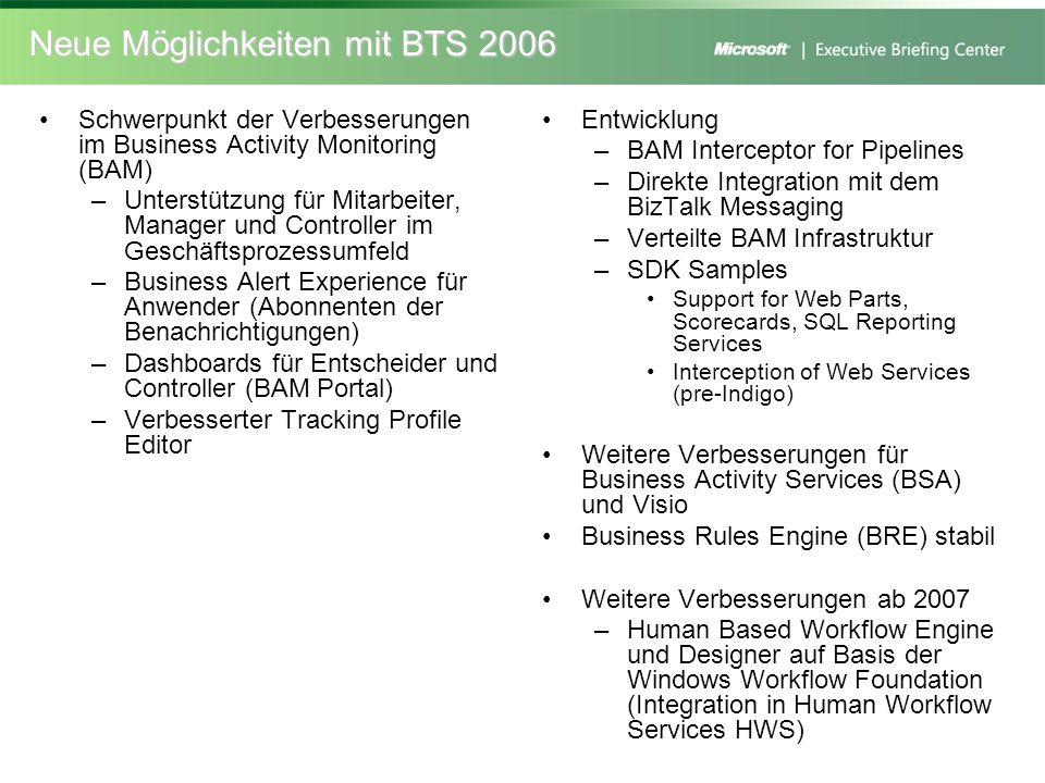 Neue Möglichkeiten mit BTS 2006 Schwerpunkt der Verbesserungen im Business Activity Monitoring (BAM) –Unterstützung für Mitarbeiter, Manager und Contr