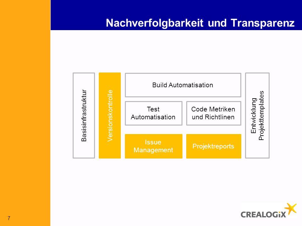 7 Nachverfolgbarkeit und Transparenz Versionskontrolle Build Automatisation Issue Management Test Automatisation Code Metriken und Richtlinen Entwicklung Projekttemplates Basisinfrastruktur Projektreports