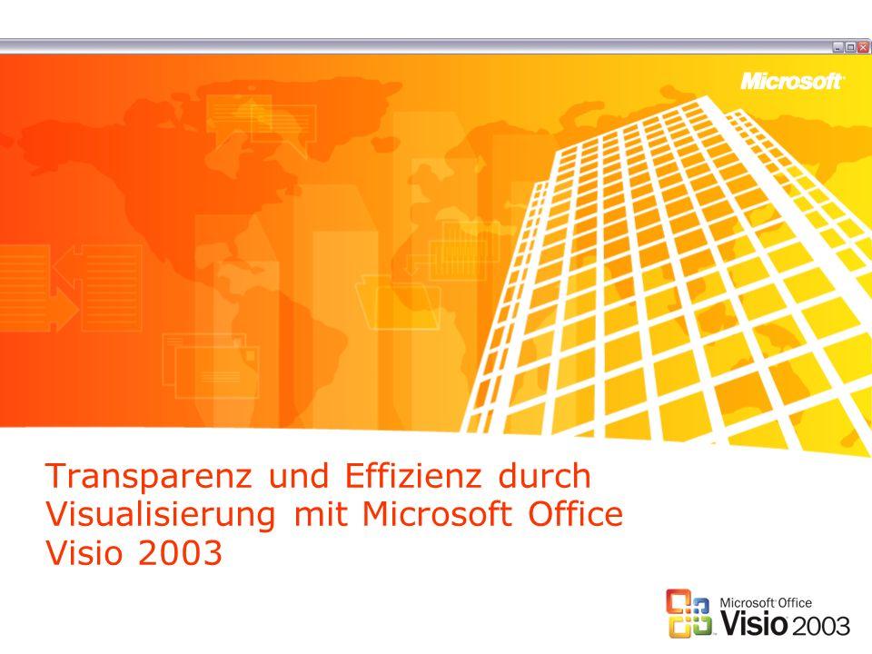 Visio: Kommunikation überall Visio ist als der Standard für Diagramme in Unternehmen etabliert Dennoch können Diagramme auf verschiedene Weise weitergegeben werden: –Mit dem Visio Viewer (kostenfrei downloadbar) –Als HTML Export –Als Export in Standard-Formate –Einbindung in Microsoft Office Produkte