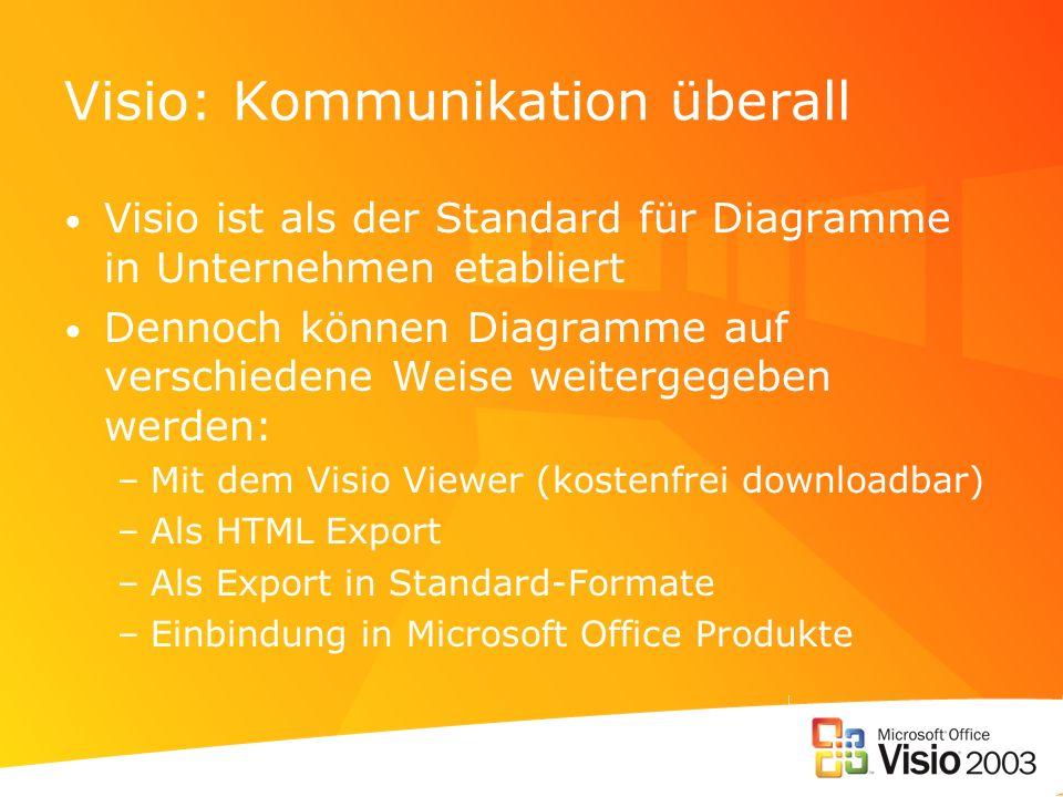 Visio: Kommunikation überall Visio ist als der Standard für Diagramme in Unternehmen etabliert Dennoch können Diagramme auf verschiedene Weise weiterg