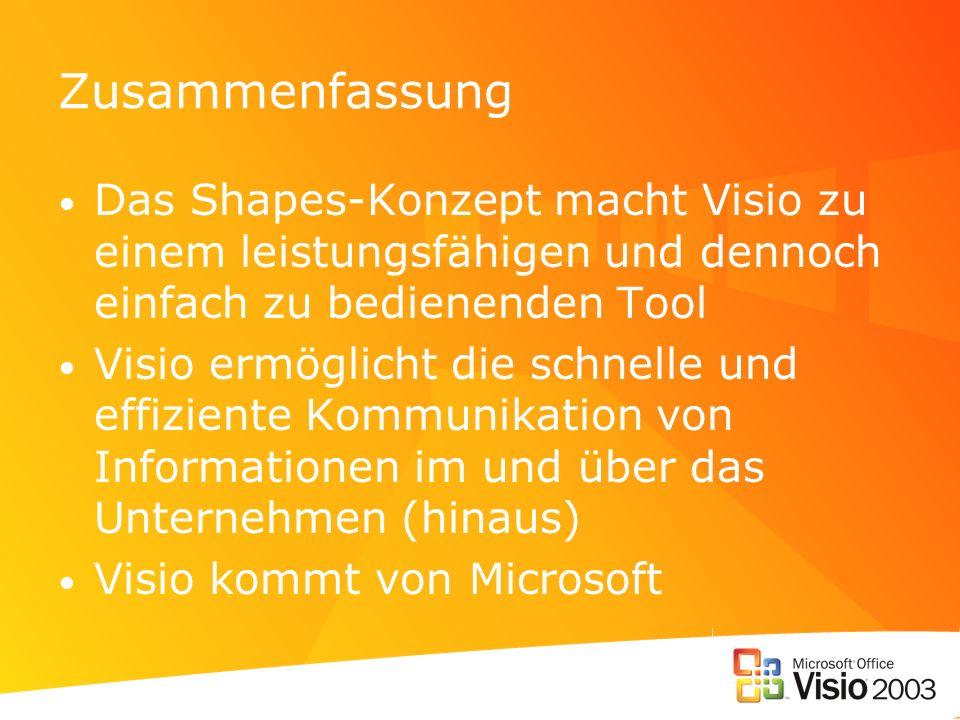 Zusammenfassung Das Shapes-Konzept macht Visio zu einem leistungsfähigen und dennoch einfach zu bedienenden Tool Visio ermöglicht die schnelle und eff