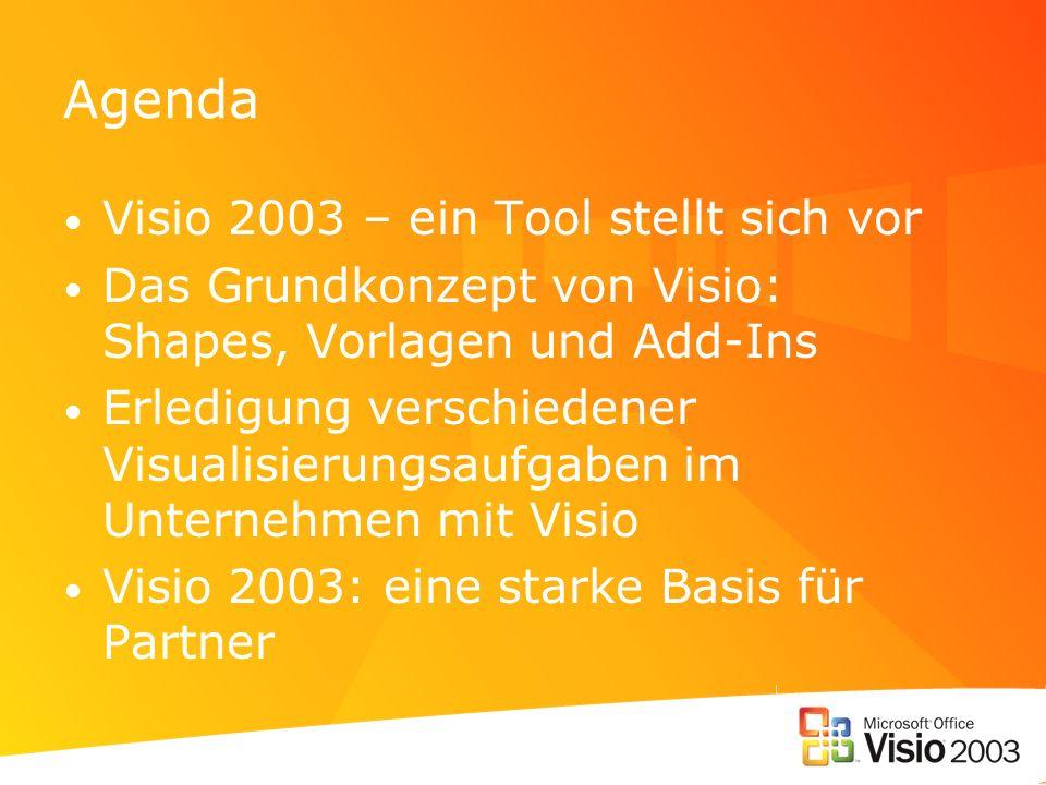 Agenda Visio 2003 – ein Tool stellt sich vor Das Grundkonzept von Visio: Shapes, Vorlagen und Add-Ins Erledigung verschiedener Visualisierungsaufgaben