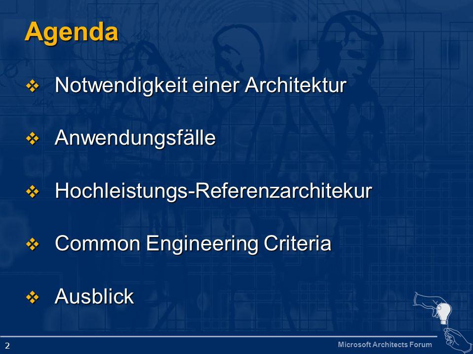 Microsoft Architects Forum 2 Agenda Notwendigkeit einer Architektur Notwendigkeit einer Architektur Anwendungsfälle Anwendungsfälle Hochleistungs-Referenzarchitekur Hochleistungs-Referenzarchitekur Common Engineering Criteria Common Engineering Criteria Ausblick Ausblick