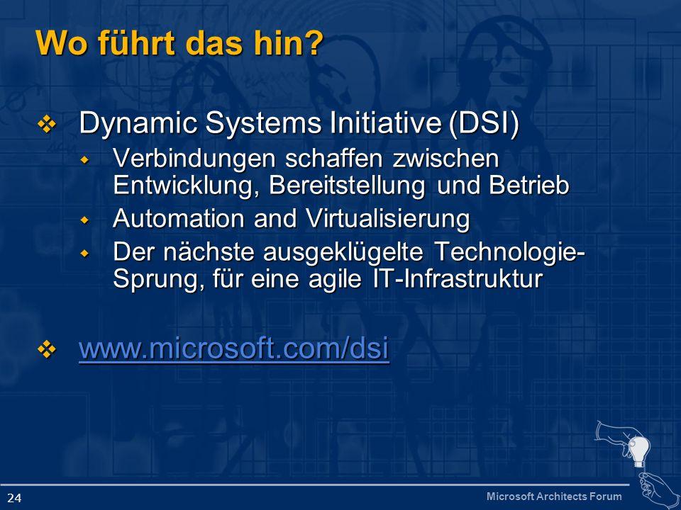 Microsoft Architects Forum 24 Wo führt das hin? Dynamic Systems Initiative (DSI) Dynamic Systems Initiative (DSI) Verbindungen schaffen zwischen Entwi