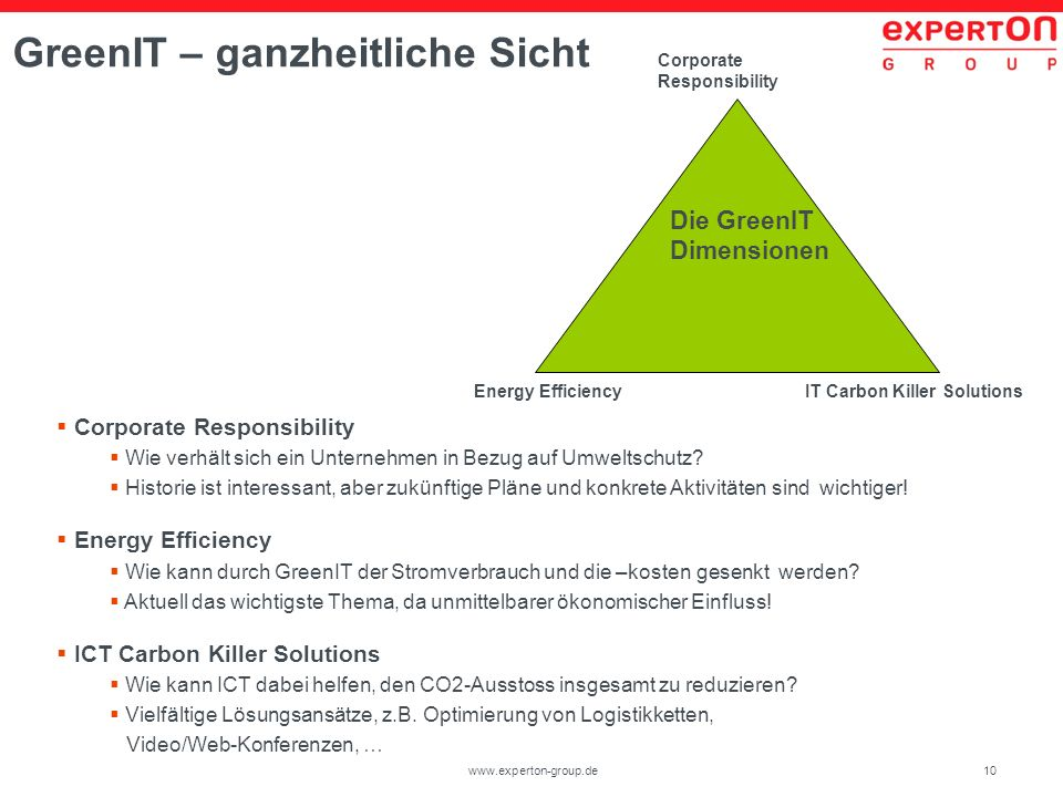 10www.experton-group.de GreenIT – ganzheitliche Sicht Die GreenIT Dimensionen Corporate Responsibility IT Carbon Killer SolutionsEnergy Efficiency Corporate Responsibility Wie verhält sich ein Unternehmen in Bezug auf Umweltschutz.