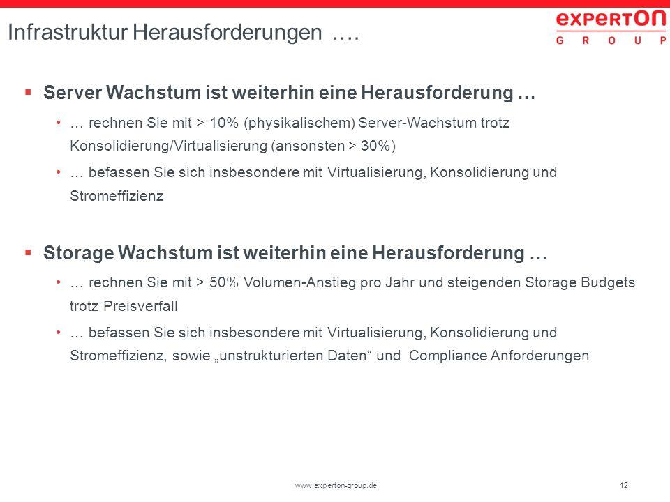 12www.experton-group.de Infrastruktur Herausforderungen …. Server Wachstum ist weiterhin eine Herausforderung … … rechnen Sie mit > 10% (physikalische