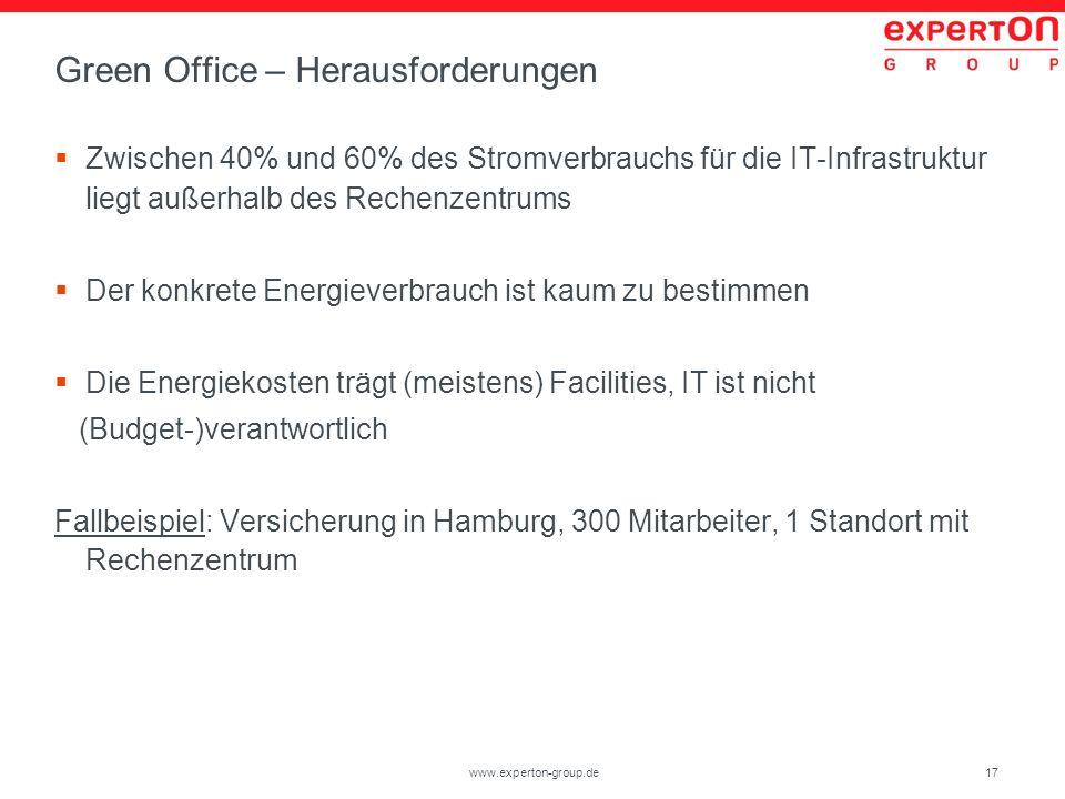 17www.experton-group.de Green Office – Herausforderungen Zwischen 40% und 60% des Stromverbrauchs für die IT-Infrastruktur liegt außerhalb des Rechenz