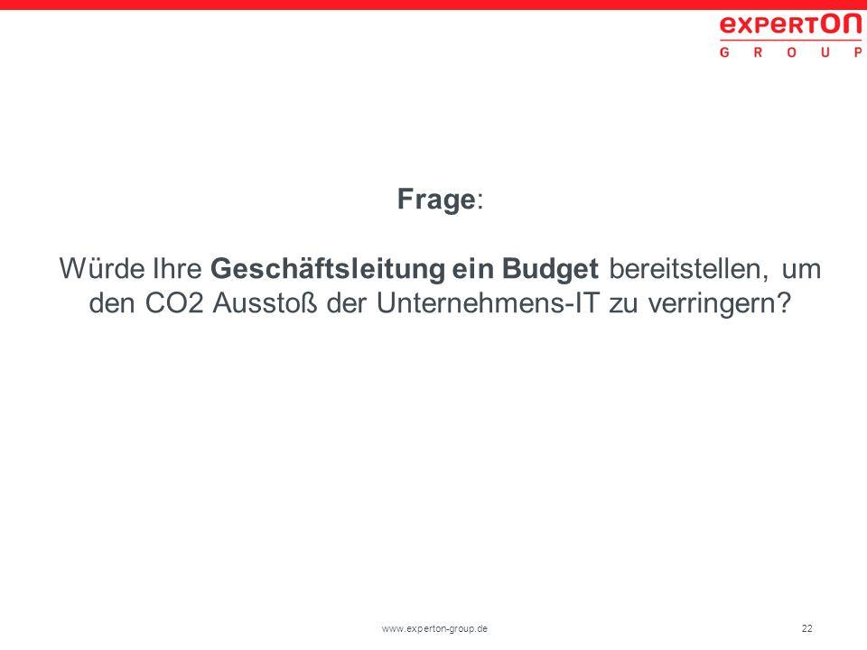 22www.experton-group.de Frage: Würde Ihre Geschäftsleitung ein Budget bereitstellen, um den CO2 Ausstoß der Unternehmens-IT zu verringern?