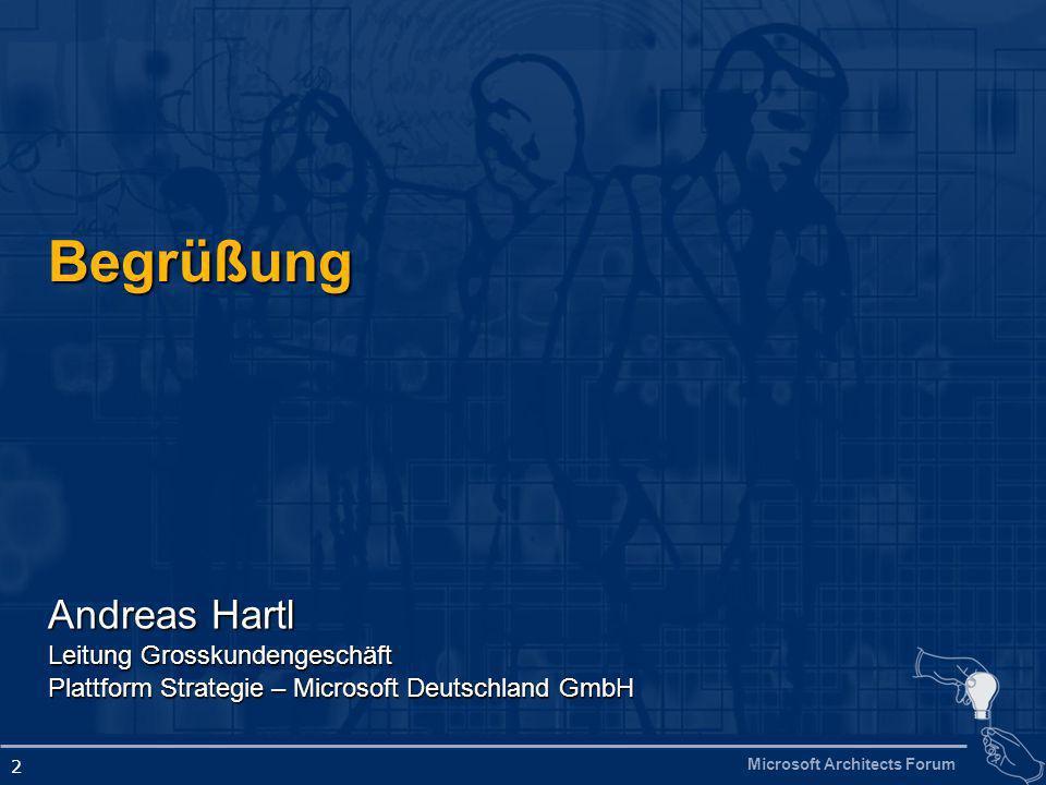 Microsoft Architects Forum 2 Begrüßung Andreas Hartl Leitung Grosskundengeschäft Plattform Strategie – Microsoft Deutschland GmbH