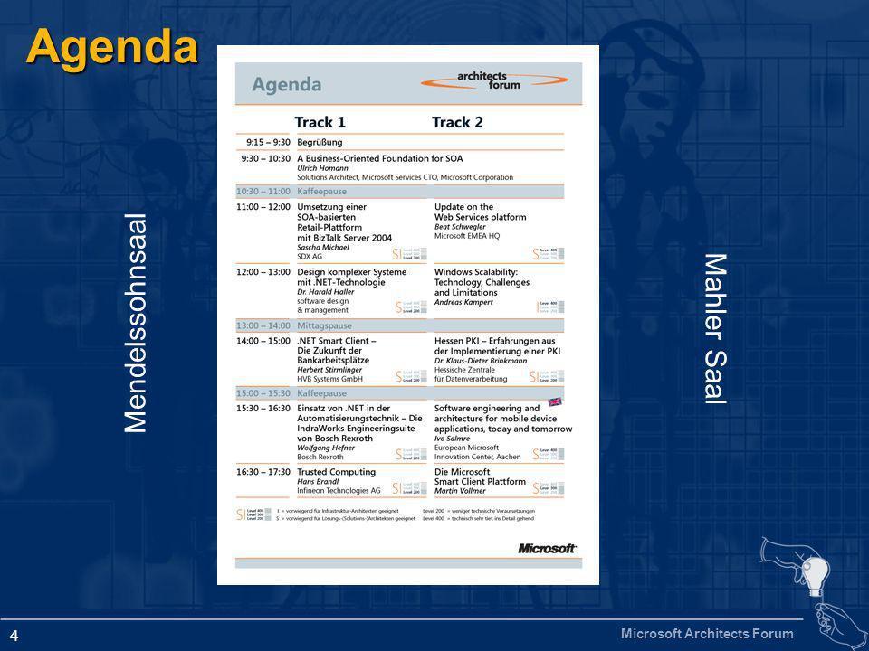 Microsoft Architects Forum 4 Agenda Mendelssohnsaal Mahler Saal