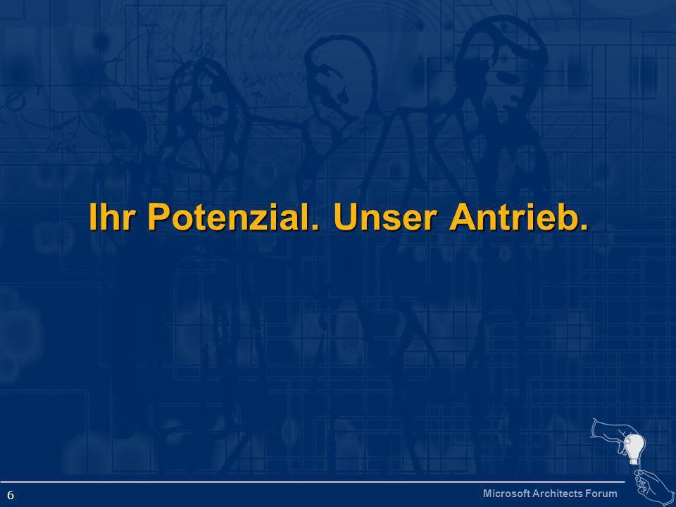 Microsoft Architects Forum 6 Ihr Potenzial. Unser Antrieb.