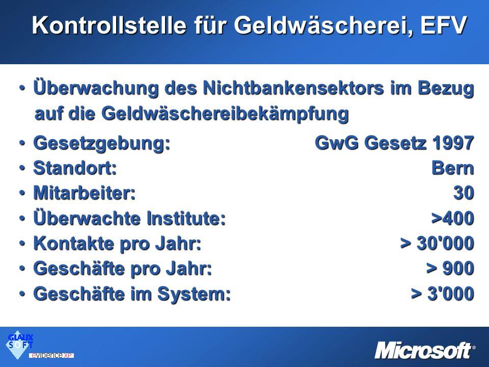 Kontrollstelle für Geldwäscherei, EFV Überwachung des Nichtbankensektors im BezugÜberwachung des Nichtbankensektors im Bezug auf die Geldwäschereibekä