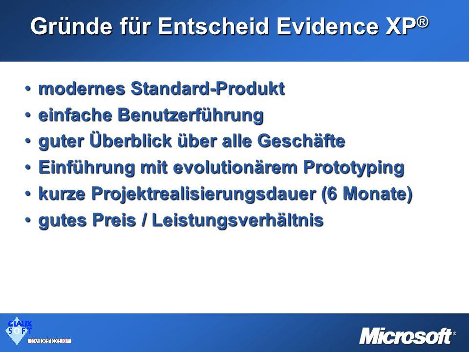 Gründe für Entscheid Evidence XP ® modernes Standard-Produktmodernes Standard-Produkt einfache Benutzerführungeinfache Benutzerführung guter Überblick