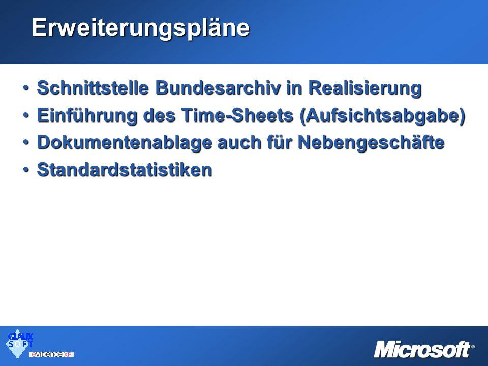 Erweiterungspläne Schnittstelle Bundesarchiv in RealisierungSchnittstelle Bundesarchiv in Realisierung Einführung des Time-Sheets (Aufsichtsabgabe)Ein
