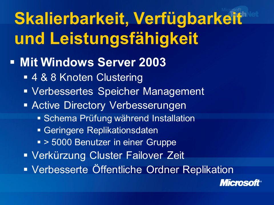 Skalierbarkeit, Verfügbarkeit und Leistungsfähigkeit Mit Windows Server 2003 4 & 8 Knoten Clustering Verbessertes Speicher Management Active Directory
