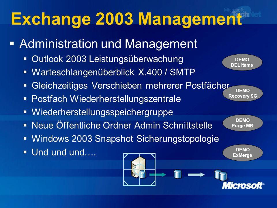 Exchange 2003 Management Administration und Management Outlook 2003 Leistungsüberwachung Warteschlangenüberblick X.400 / SMTP Gleichzeitiges Verschieb