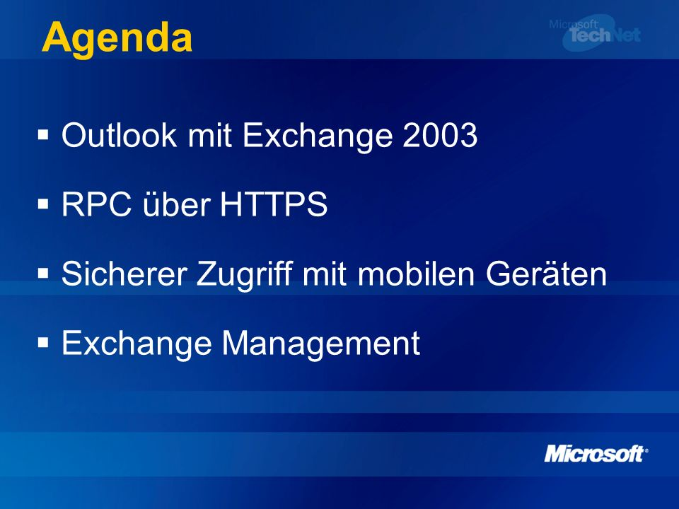 Exchange und Outlook 2003 Art der Verbindung spielt keine Rolle Lokaler Cache des Postfaches vermittelt dem Benutzer unabhängig von der Leitungsqualität das Gefühl einer perfekten Anbindung Weniger Roundtrips, hohe Kompression Intelligente Synchronisierung Stark reduzierte Server- und Netzwerklast DEMO Cached Mode
