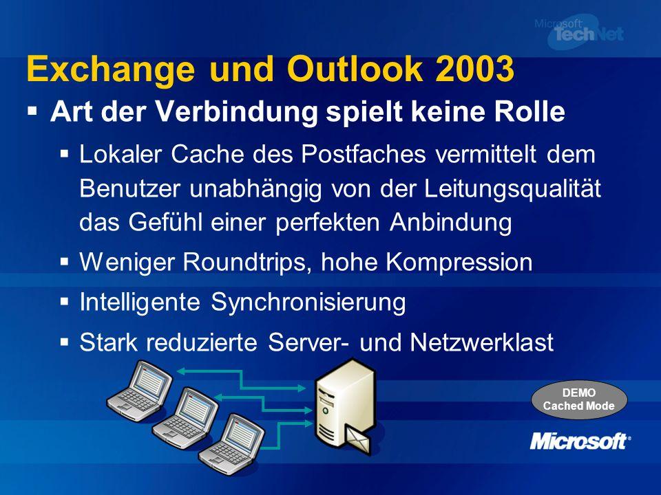 Exchange und Outlook 2003 Art der Verbindung spielt keine Rolle Lokaler Cache des Postfaches vermittelt dem Benutzer unabhängig von der Leitungsqualit