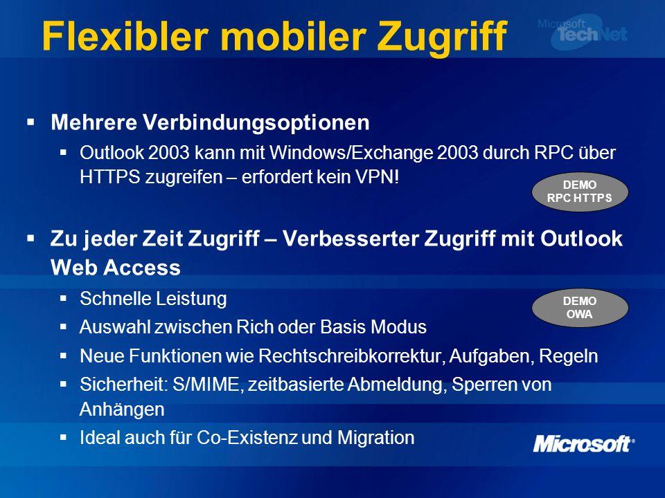 Beispiel für RPC über HTTPS Windows 2003 erforderlich: Exchange 2003 Backend Exchange 2003 FE RPC Proxy DC/GC Exchange TIP: Client Windows XP SP1 + Q331320 ISA ist verantwortlich für RPC über HTTPS Routing