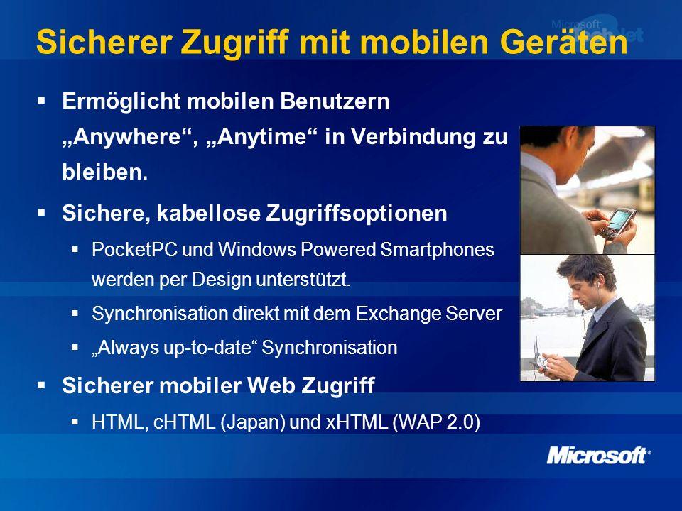 Sicherer Zugriff mit mobilen Geräten Ermöglicht mobilen Benutzern Anywhere, Anytime in Verbindung zu bleiben. Sichere, kabellose Zugriffsoptionen Pock