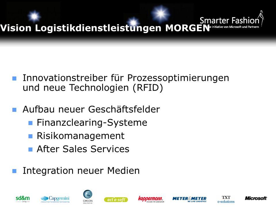 Vision Logistikdienstleistungen MORGEN Innovationstreiber für Prozessoptimierungen und neue Technologien (RFID) Aufbau neuer Geschäftsfelder Finanzcle