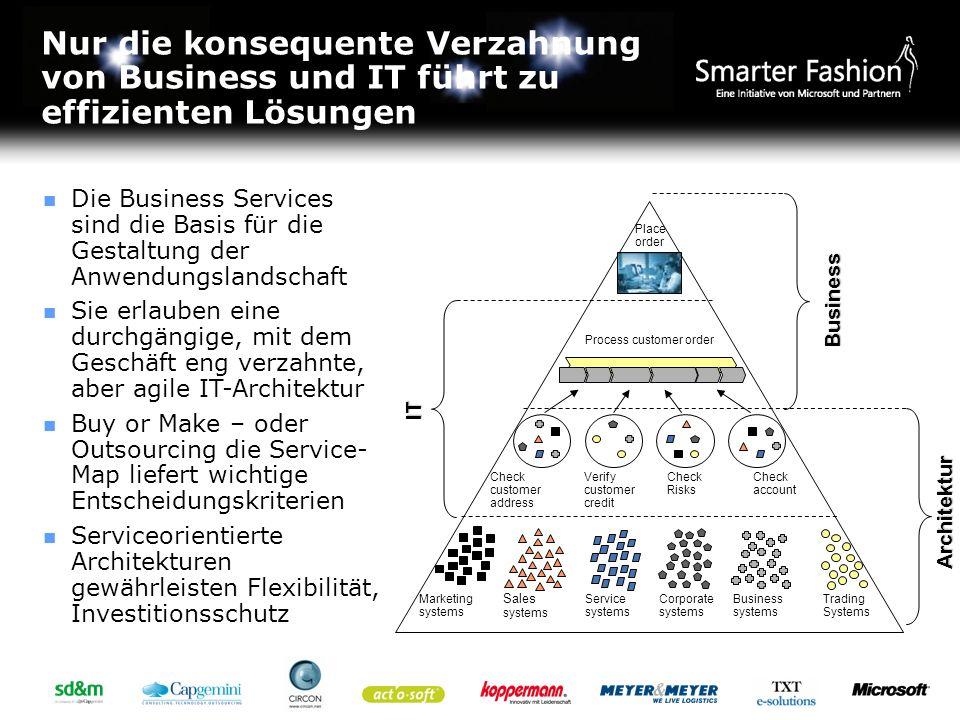 Nur die konsequente Verzahnung von Business und IT führt zu effizienten Lösungen Die Business Services sind die Basis für die Gestaltung der Anwendung