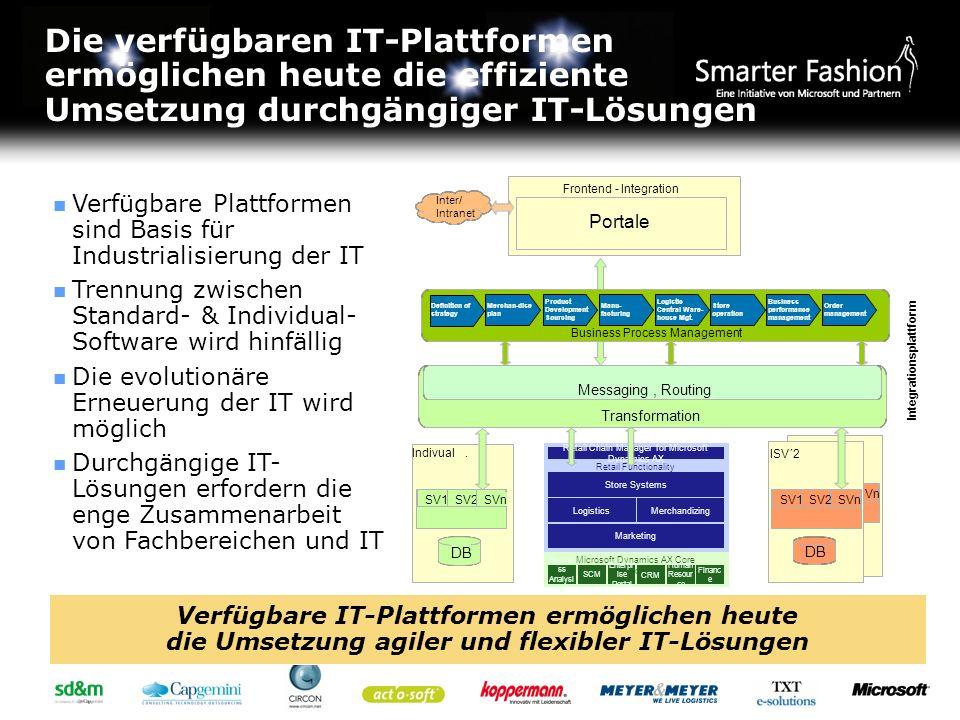 Die verfügbaren IT-Plattformen ermöglichen heute die effiziente Umsetzung durchgängiger IT-Lösungen Verfügbare Plattformen sind Basis für Industrialis