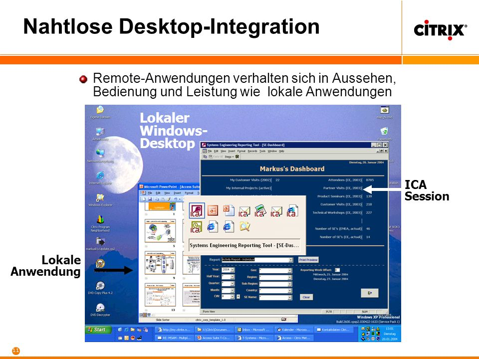 10 Citrix MetaFrame XP Client-Rollout mit Citrix Mail Server DB Server File Server Data Ware House WWW Server Anwender Arbeitsplatz Backoffice Desktop Server Farm Mit Citrix MetaFrame ist der Desktop nur der Spezialfall einer Anwendung