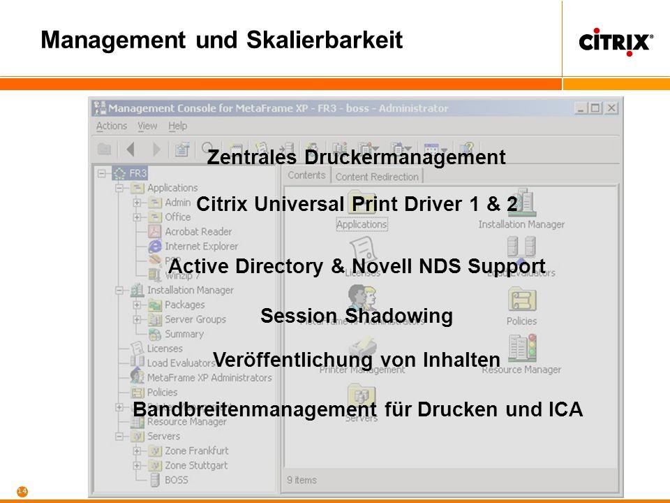13 Published Applications Automatisierte Softwareverteilung Echtzeit- monitoring, Alerting sowie Billing Lastverteilung basierend auf Ressourcen (CPU, RAM) Anwendungen Server Etc...