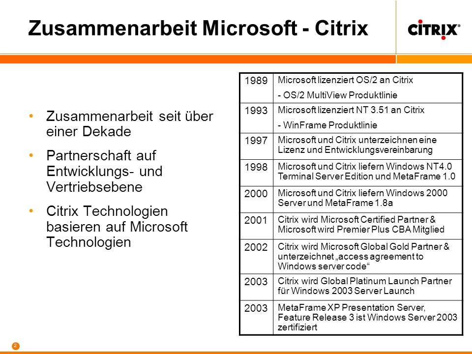 Markus.Klein@eu.citrix.com Systems Engineering Kosteneffizientes IT-Management mit der Citrix MetaFrame Access Suite und den Microsoft Windows Terminal Services Markus.Klein@eu.citrix.com Systems Engineering