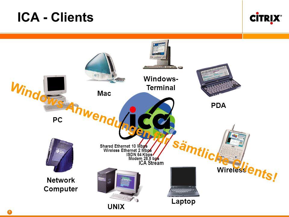 8 keine lokale Bearbeitung der Daten Citrix MetaFrame Access Suite Zentralisierung von Daten und Anwendungen Mail Server DB Server File Server Data Wa
