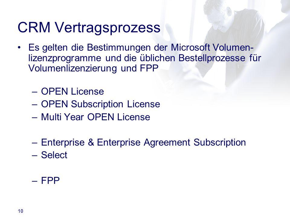 10 CRM Vertragsprozess Es gelten die Bestimmungen der Microsoft Volumen- lizenzprogramme und die üblichen Bestellprozesse für Volumenlizenzierung und