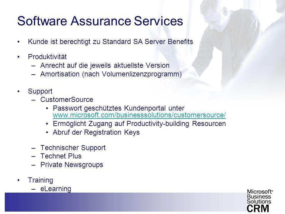 12 Software Assurance Services Kunde ist berechtigt zu Standard SA Server Benefits Produktivität –Anrecht auf die jeweils aktuellste Version –Amortisa