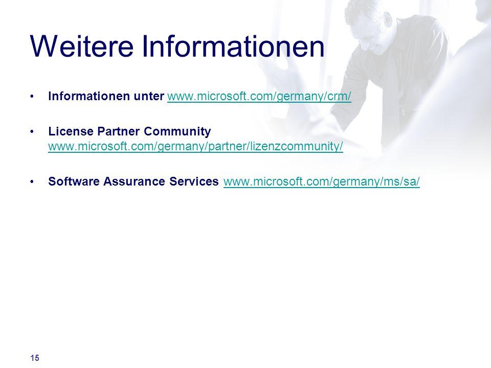 15 Weitere Informationen Informationen unter www.microsoft.com/germany/crm/www.microsoft.com/germany/crm/ License Partner Community www.microsoft.com/