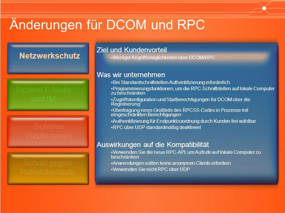 Änderungen für DCOM und RPC Ziel und Kundenvorteil Weniger Angriffsmöglichkeiten über DCOM/RPC Was wir unternehmen Bei Standardschnittstellen Authentifizierung erforderlich Programmierungsfunktionen, um die RPC-Schnittstellen auf lokale Computer zu beschränken Zugriffskonfiguration und Startberechtigungen für DCOM über die Registrierung Übertragung eines Großteils des RPCSS-Codes in Prozesse mit eingeschränkten Berechtigungen Authentifizierung für Endpunktzuordnung durch Kunden frei wählbar RPC über UDP standardmäßig deaktiviert Auswirkungen auf die Kompatibilität Verwenden Sie die neue RPC-API, um Aufrufe auf lokale Computer zu beschränken Anwendungen sollten keine anonymen Clients erfordern Verwenden Sie nicht RPC über UDP Netzwerkschutz Sichere E-Mails und IM Sicheres Webbrowsen Schutz gegen Pufferüberläufe