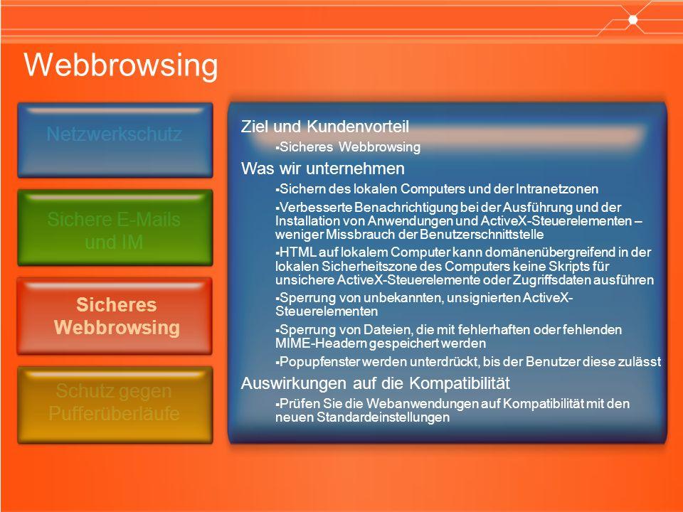 Webbrowsing Ziel und Kundenvorteil Sicheres Webbrowsing Was wir unternehmen Sichern des lokalen Computers und der Intranetzonen Verbesserte Benachrichtigung bei der Ausführung und der Installation von Anwendungen und ActiveX-Steuerelementen – weniger Missbrauch der Benutzerschnittstelle HTML auf lokalem Computer kann domänenübergreifend in der lokalen Sicherheitszone des Computers keine Skripts für unsichere ActiveX-Steuerelemente oder Zugriffsdaten ausführen Sperrung von unbekannten, unsignierten ActiveX- Steuerelementen Sperrung von Dateien, die mit fehlerhaften oder fehlenden MIME-Headern gespeichert werden Popupfenster werden unterdrückt, bis der Benutzer diese zulässt Auswirkungen auf die Kompatibilität Prüfen Sie die Webanwendungen auf Kompatibilität mit den neuen Standardeinstellungen Netzwerkschutz Sicheres Webbrowsing Schutz gegen Pufferüberläufe Sichere E-Mails und IM