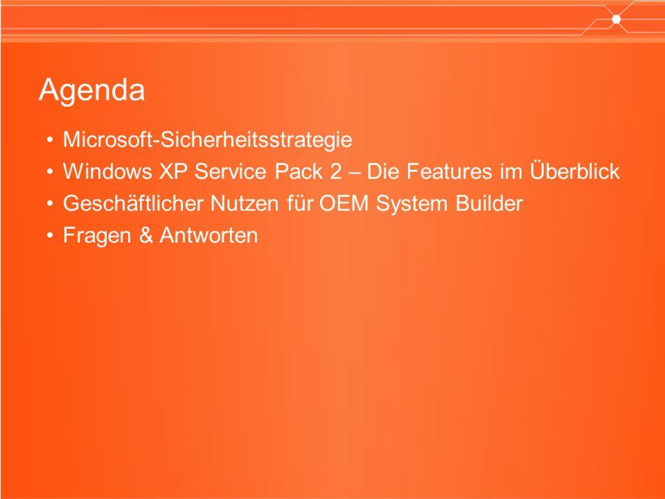 Agenda Microsoft-Sicherheitsstrategie Windows XP Service Pack 2 – Die Features im Überblick Geschäftlicher Nutzen für OEM System Builder Fragen & Antworten