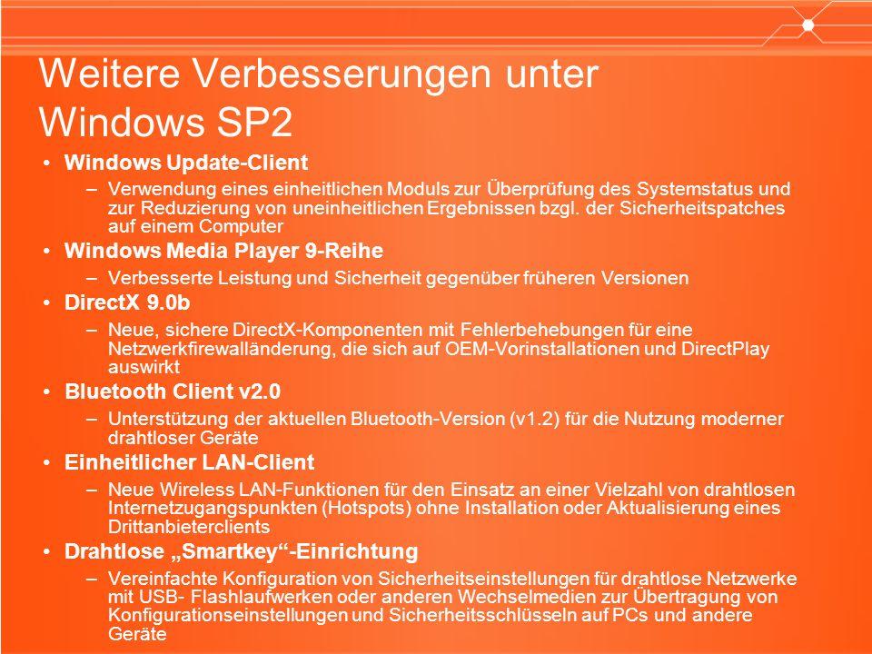 Weitere Verbesserungen unter Windows SP2 Windows Update-Client –Verwendung eines einheitlichen Moduls zur Überprüfung des Systemstatus und zur Reduzierung von uneinheitlichen Ergebnissen bzgl.
