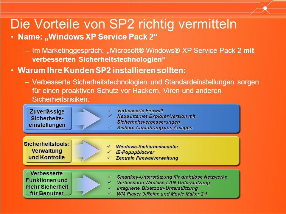 Die Vorteile von SP2 richtig vermitteln Name: Windows XP Service Pack 2 –Im Marketinggespräch: Microsoft® Windows® XP Service Pack 2 mit verbesserten Sicherheitstechnologien Warum Ihre Kunden SP2 installieren sollten: –Verbesserte Sicherheitstechnologien und Standardeinstellungen sorgen für einen proaktiven Schutz vor Hackern, Viren und anderen Sicherheitsrisiken.