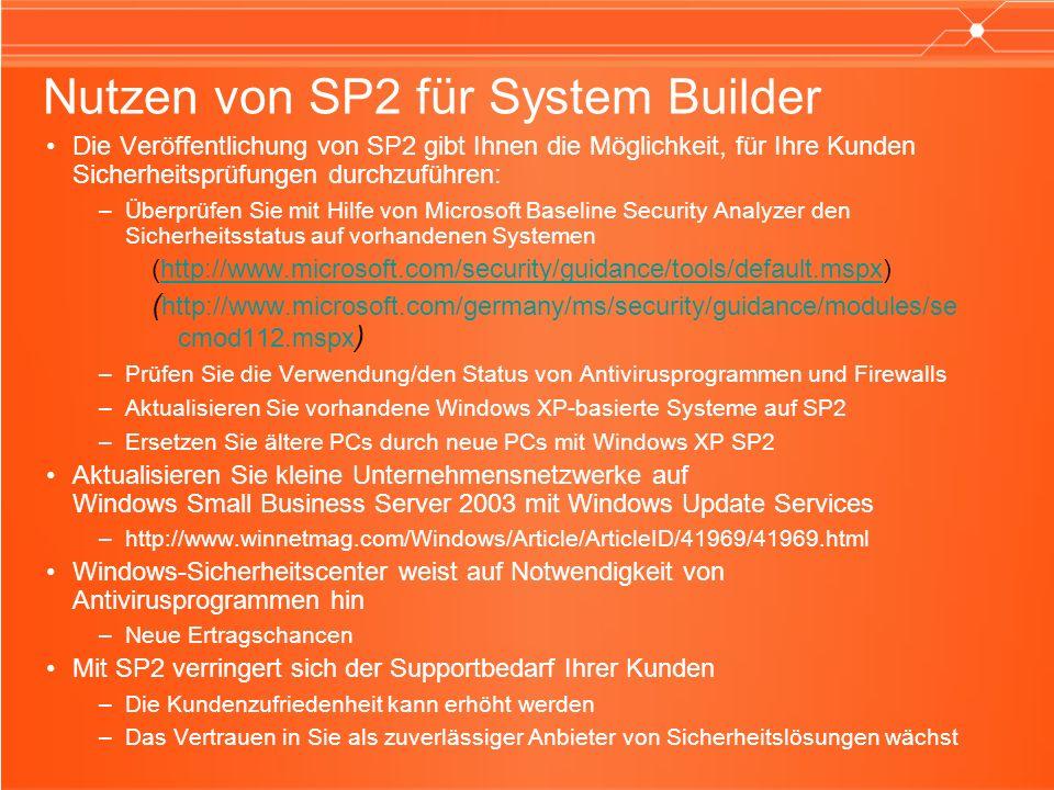 Nutzen von SP2 für System Builder Die Veröffentlichung von SP2 gibt Ihnen die Möglichkeit, für Ihre Kunden Sicherheitsprüfungen durchzuführen: –Überprüfen Sie mit Hilfe von Microsoft Baseline Security Analyzer den Sicherheitsstatus auf vorhandenen Systemen (http://www.microsoft.com/security/guidance/tools/default.mspx)http://www.microsoft.com/security/guidance/tools/default.mspx ( http://www.microsoft.com/germany/ms/security/guidance/modules/se cmod112.mspx ) –Prüfen Sie die Verwendung/den Status von Antivirusprogrammen und Firewalls –Aktualisieren Sie vorhandene Windows XP-basierte Systeme auf SP2 –Ersetzen Sie ältere PCs durch neue PCs mit Windows XP SP2 Aktualisieren Sie kleine Unternehmensnetzwerke auf Windows Small Business Server 2003 mit Windows Update Services –http://www.winnetmag.com/Windows/Article/ArticleID/41969/41969.html Windows-Sicherheitscenter weist auf Notwendigkeit von Antivirusprogrammen hin –Neue Ertragschancen Mit SP2 verringert sich der Supportbedarf Ihrer Kunden –Die Kundenzufriedenheit kann erhöht werden –Das Vertrauen in Sie als zuverlässiger Anbieter von Sicherheitslösungen wächst