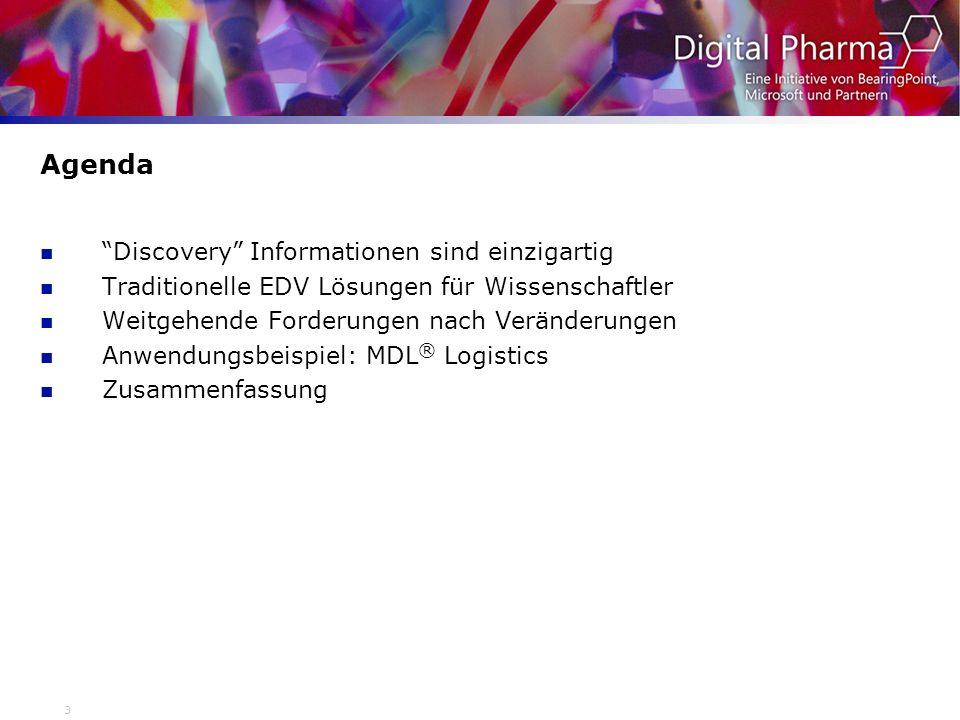 4 Discovery Information ist einzigartig Viele Quellen & Formate Strukturen and Reaktionen Analytische Daten Notebooks Lagerbestände Physikalische Daten Biologische Daten ADMET …