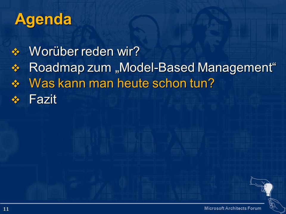 Microsoft Architects Forum 11 Agenda Worüber reden wir.