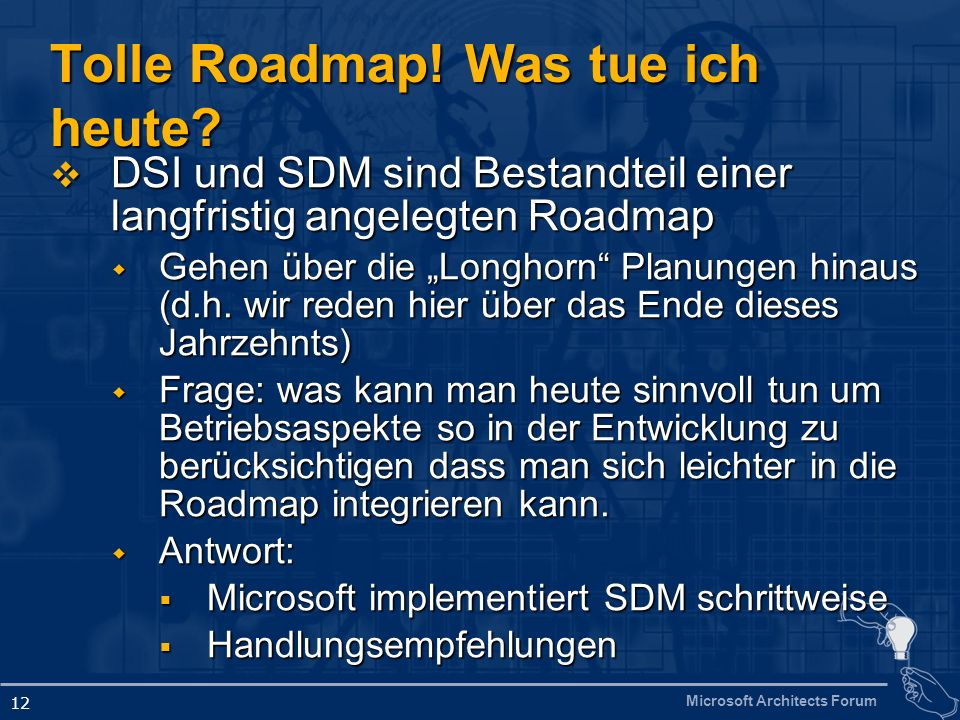 Microsoft Architects Forum 12 Tolle Roadmap. Was tue ich heute.