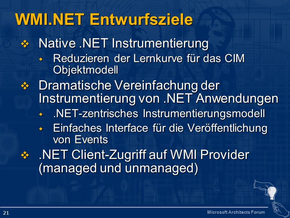 Microsoft Architects Forum 21 WMI.NET Entwurfsziele Native.NET Instrumentierung Native.NET Instrumentierung Reduzieren der Lernkurve für das CIM Objektmodell Reduzieren der Lernkurve für das CIM Objektmodell Dramatische Vereinfachung der Instrumentierung von.NET Anwendungen Dramatische Vereinfachung der Instrumentierung von.NET Anwendungen.NET-zentrisches Instrumentierungsmodell.NET-zentrisches Instrumentierungsmodell Einfaches Interface für die Veröffentlichung von Events Einfaches Interface für die Veröffentlichung von Events.NET Client-Zugriff auf WMI Provider (managed und unmanaged).NET Client-Zugriff auf WMI Provider (managed und unmanaged)