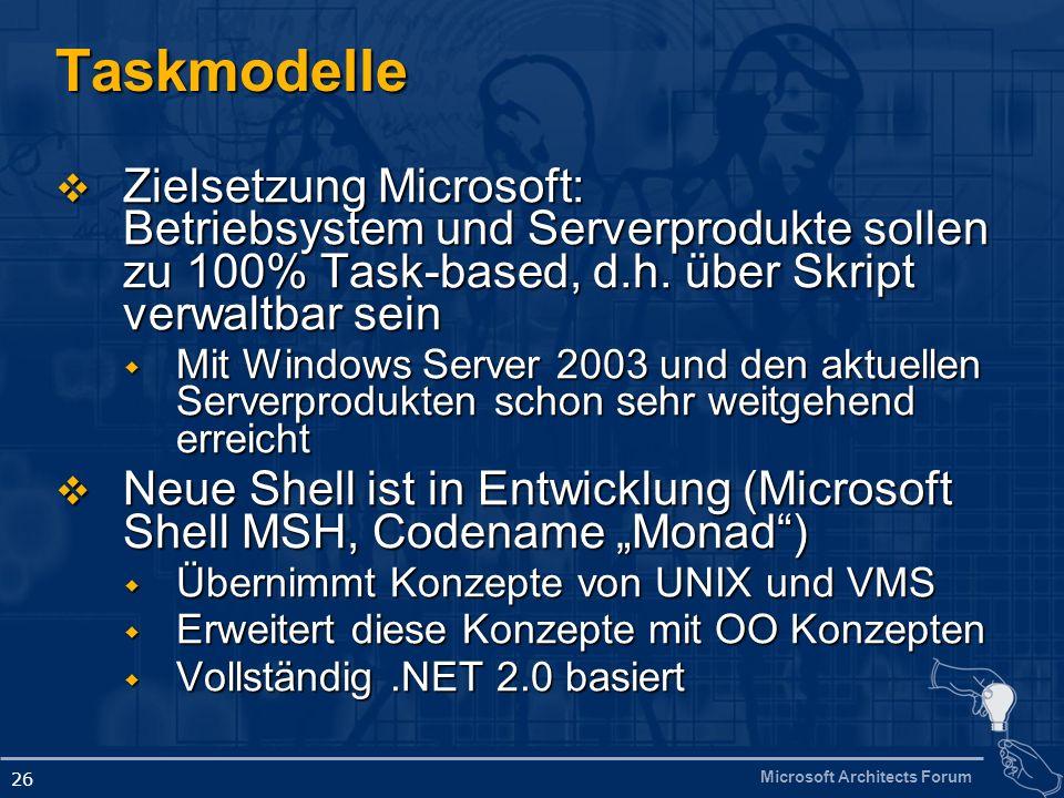 Microsoft Architects Forum 26 Taskmodelle Zielsetzung Microsoft: Betriebsystem und Serverprodukte sollen zu 100% Task-based, d.h.